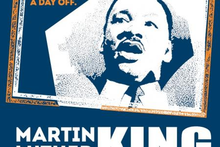 Martin Luther King, Jr., Day of Service graphic poster with image of King